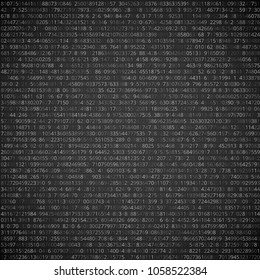 Random numbers code screen listing table cypher, vector background
