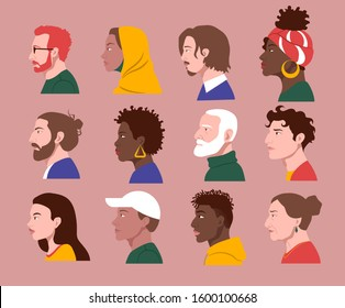 Random people of different cultures and races faces in profile vector images set