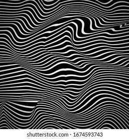 Random Reaction Waves Optical. Monochrome Color Background