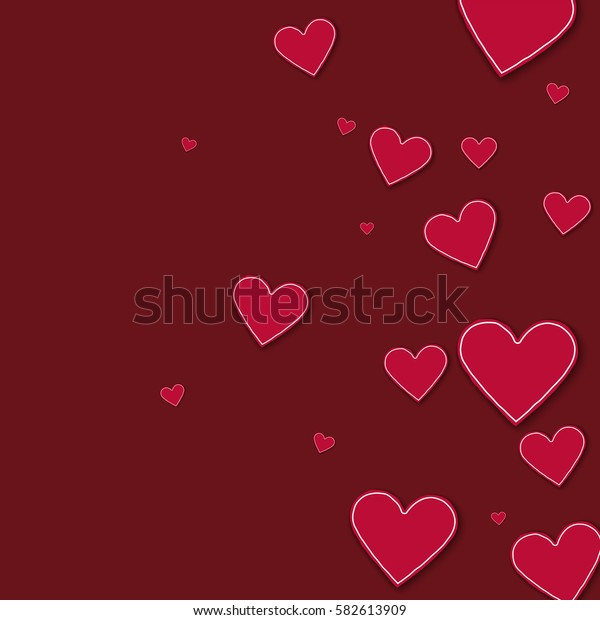 Random red paper hearts. Right gradient with random red paper hearts on wine red background. Vector illustration.