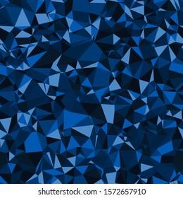 Random seamless blue triangle pattern. Techno pop geo angles graphic. Funky indigo infinite mess. Repeat vector swatch.