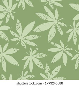 Random seamless ganja ornament pattern. Artwork in pastel palette. Light grey leafs and green background. Great for wrapping paper, textile, fabric print and wallpaper. Vector illustration.