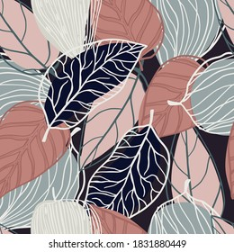 Random seamless pastel pattern with contoured botanic leaves silhouettes. Pink and grey colored soft tones. Black background. For fabric design, textile print, wrapping, cover. Vector illustration.