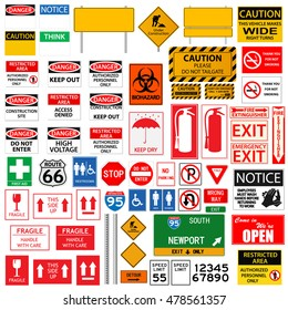 Random Signs collection illustration on a white background