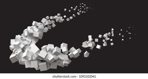 random sized cubes rotating in eliptic orbit.