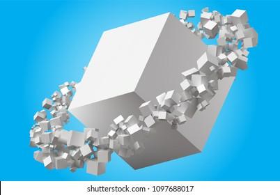 random sized cubes rotating in eliptic orbit around cube