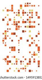 Random squares mosaic pattern. Pixelated, fragmentation halftone design. Random distribution square shapes. Irregular array, grid, mesh. Matrix of random quadrangles