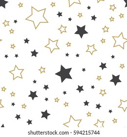 Random stars pattern. Endless background vector illustration, image. Creative, luxury style. Print card, cloth, clothing, wrap, wrapper, web, cover, label, banner, poster, emblem, invitation, gift.