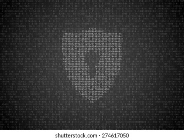 Random symbols. numbers and letters with lock sign - encrypted data vector illustration