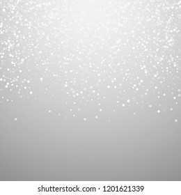 Random white dots Christmas background. Subtle flying snow flakes and stars on light grey background. Alive winter silver snowflake overlay template. Pleasant vector illustration.