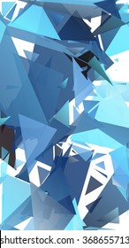 Randomly scattered triangles of different sizes, colors and transparency. Abstract geometric background