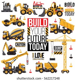 Range of construction machinery. Positive motivation quote, slogan. Decoration for children's room boy for theme parties for birthdays, invitations, website, mobile applications