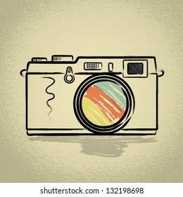 Rangefinder camera Illustration with Brushwork