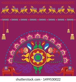 Rangoli Pattern and Navratri Background with Creative Elephant Vector and Creative Camel - Navratri Indian Festival Background and Rangoli Design