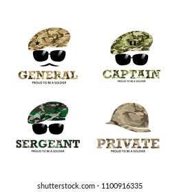 Rank Army Soldier Military with Logo with camouflage baret logo Illustration