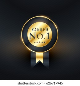 ranked no.1 golden label with ribbon