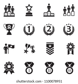 Ranking And Achievement Icons. Black Flat Design. Vector Illustration.