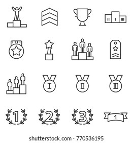 Ranking and achievement icons set. Line with Editable stroke