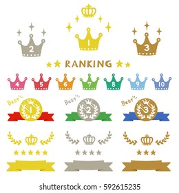 Ranking crown, hand-drawn icons / vector eps10 illustration