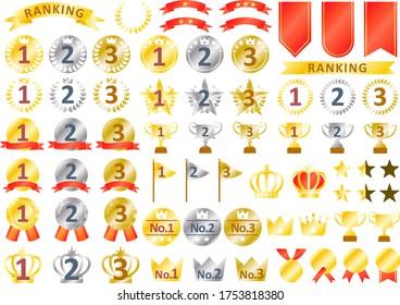 Ranking icon, ribbon and goldmedal set