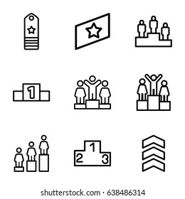 Ranking icons set. set of 9 ranking outline icons such as ranking