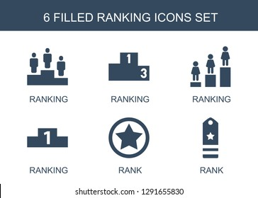 ranking icons. Trendy 6 ranking icons. Contain icons such as rank. ranking icon for web and mobile.