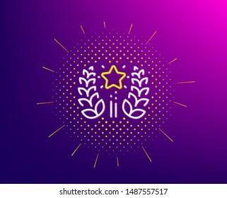Ranking line icon. Halftone pattern. Laurel wreath star star sign. Best rank symbol. Gradient background. Ranking line icon. Yellow halftone pattern. Vector