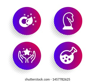 Ranking, Marketing strategy and Paint brush icons simple set. Halftone dots button. Chemistry lab sign. Hold star, Chess knight, Creativity. Laboratory. Education set. Vector