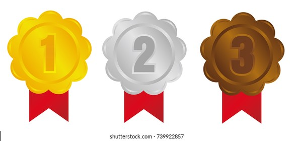 ranking medal icon illustration set. from 1st place to 3rd place. 3 colors (gold/silver/bronze)