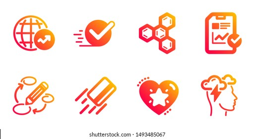 Ranking star, Checkbox and Chemical formula line icons set. Credit card, Report checklist and Keywords signs. World statistics, Mindfulness stress symbols. Love rank, Approved. Education set. Vector