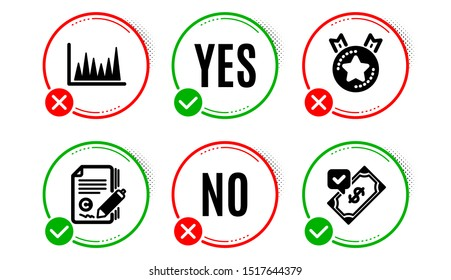 Ranking star, Copywriting and Line graph icons simple set. Yes no check box. Accepted payment sign. Winner medal, Copyright signature, Market diagram. Bank transfer. Education set. Vector