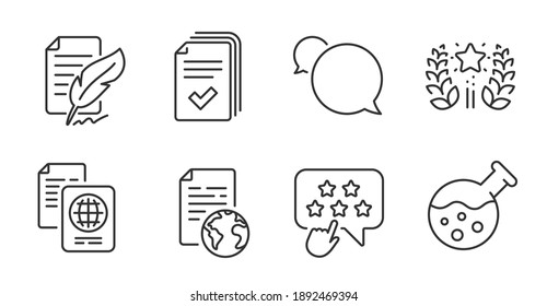 Ranking star, Internet document and Ranking line icons set. Passport document, Chemistry lab and Handout signs. Messenger, Feather signature symbols. Click rank, Web page, Laurel wreath. Vector
