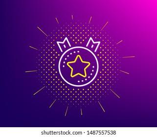Ranking star line icon. Halftone pattern. Winner medal sign. Best rank symbol. Gradient background. Ranking star line icon. Yellow halftone pattern. Vector