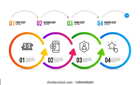 Ranking star sign. Infographics timeline. Security, Medical phone and Copywriting notebook line icons set. Private protection, Mobile medicine, Writer laptop. Click rank. Business set. Vector
