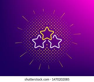 Ranking stars line icon. Halftone pattern. Star rating sign. Best rank symbol. Gradient background. Ranking stars line icon. Yellow halftone pattern. Vector