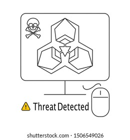 Ransomware alert on desktop screen. Thin line icon. Isolated on white background.