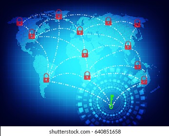 Ransomware alert, technology ,cyber secueity,cybercrime,world map  ,world map  furnished by NASA and draw by illustrator cc.