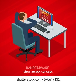 Ransomware, malicious software that blocks access to the victim's data. Hacker attacks network. Isometric vector illustration. Internet crime concept. E-mail spam viruses bank account hacking.