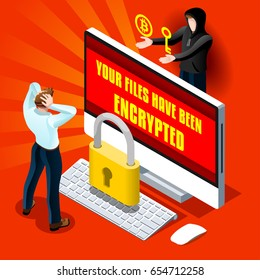Ransomware malware wannacry risk symbol hacker cyber attack concept computer virus NotPetya Spectre Meltdown infection infographic. Vector online hacker risk illustration 3D isometric realistic people