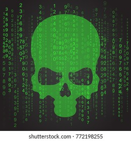 Ransomware Petya computer virus cyber attack screen with skull cool vector illustration