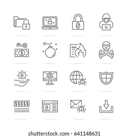 ransomware vector line icons, minimal pictogram design, editable stroke for any resolution