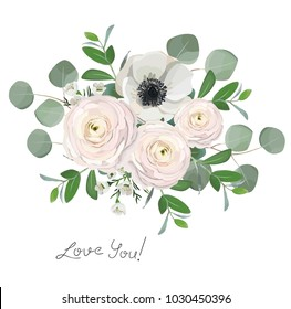 ranunculus anemone eucalyptus flowers bouquet illustration