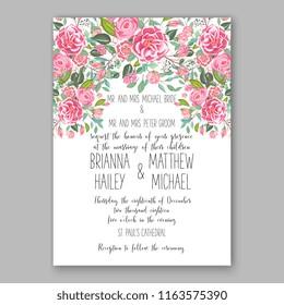 Ranunculus wedding invitation pink peony rose floral background greenery