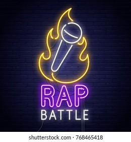 Rap Battle. 3d neon sign. Realistic neon sign. Battle banner, logo, emblem and label. Bright signboard, light banner.