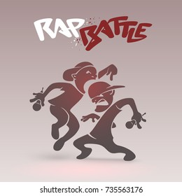 Rap Battle funny poster with a graffiti logo. Two aggressive rappers rivals each other by a tricky punchlines. Hip Hop spontaneous fight of urban figures which bounces and swings with a microphones.