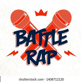 Rap Battle vector logo or emblem with two microphones crossed, Hip Hop hot rhymes music mic in a flames, concert festival or night club label, t-shirt print.