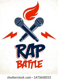Rap Battle vector logo or emblem with two microphones crossed and fire, Hip Hop hot rhymes music mic in a flames, concert festival or night club label, t-shirt print.