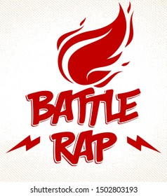 Rap Battle vector logo or emblem with flames of fire burning and lightning bolts, Hip Hop hot rhymes music, concert festival or night club label, t-shirt print.