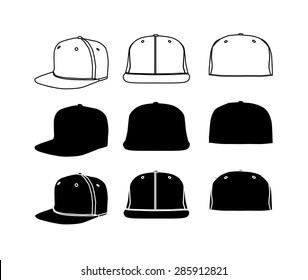 Rap cap with flat bill icon set, outline and silhouette. Vector eps0 illustration.