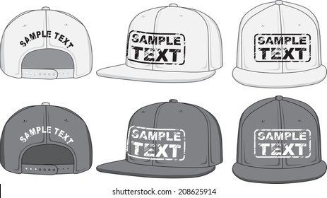 Rap cap, front, back and side view. Vector illustration. Color redact easy.